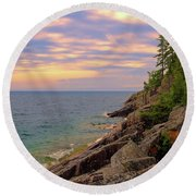 Colors Of Agawa Bay Round Beach Towel