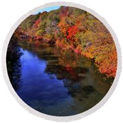 Colors Of Nature - Fall River Reflections 001 Round Beach Towel