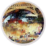 Colors Of Paris In The Summer Round Beach Towel