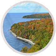 Round Beach Towel featuring the photograph Colors Of Peninsula by Greta Larson Photography
