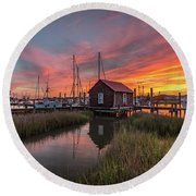 Colors Of Shem Creek - Mt. Pleasant Sc Round Beach Towel