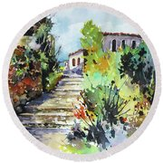 Round Beach Towel featuring the painting Colors Of Spain by Rae Andrews