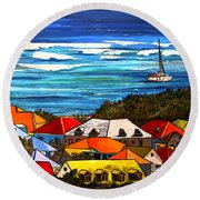 Colors Of St Martin Round Beach Towel