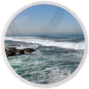 Round Beach Towel featuring the photograph Colors Of The Sea by Carol  Bradley