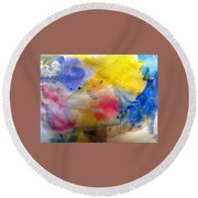 Colors Of The Skies Round Beach Towel by Khalid Saeed