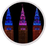 Colors Of The Terminal Tower Round Beach Towel