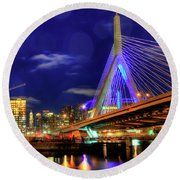 Round Beach Towel featuring the photograph Colors Of The Zakim Bridge - Boston, Ma by Joann Vitali