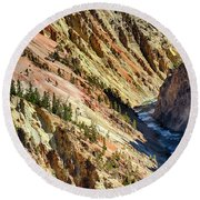 Colors Of Yellowstone Canyon Round Beach Towel by Shirley Mitchell