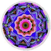 Round Beach Towel featuring the digital art Colors O're Laid by Ron Bissett
