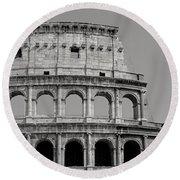 Colosseum Or Coliseum Black And White Round Beach Towel