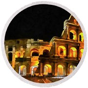 Colosseum Under The Moon Round Beach Towel