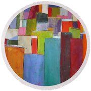 Colour Block7 Round Beach Towel by Chris Hobel