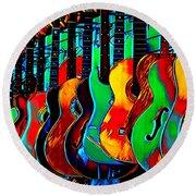 Round Beach Towel featuring the digital art Colour Of Music by Pennie McCracken