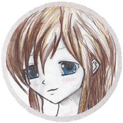 Coloured Anime Round Beach Towel