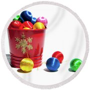 Coloured Baubles In A Pot Round Beach Towel