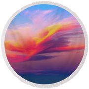 Coloured Feather Clouds Round Beach Towel