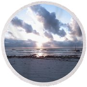 Coloured Sky - Sun Rays And Wooden Dhows Round Beach Towel