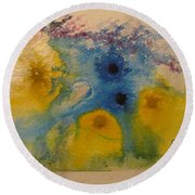 Round Beach Towel featuring the drawing Colourful by AJ Brown