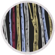 Round Beach Towel featuring the digital art Colourful Birches by Paula Brown