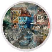 Colourful Burano Round Beach Towel by Jack Torcello