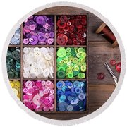 Colourful Buttons With Needle, Thread And Scissors Round Beach Towel