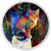 Colourful Calico Round Beach Towel