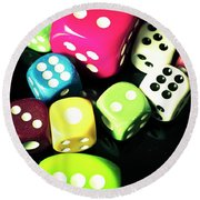 Colourful Casino Dice  Round Beach Towel