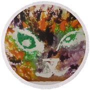 Round Beach Towel featuring the drawing Colourful Cat Face by AJ Brown