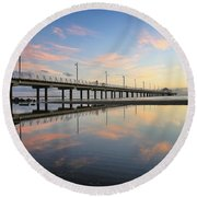 Colourful Cloud Reflections At The Pier Round Beach Towel