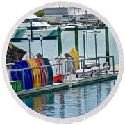 Colourful Dinghies Auckland Round Beach Towel