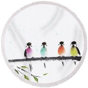 Colourful Family Round Beach Towel