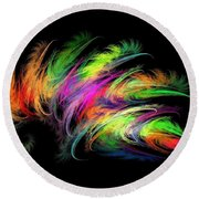 Colourful Feather Round Beach Towel by Klara Acel