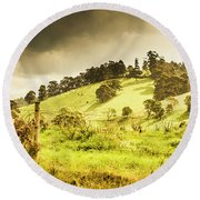 Colourful Fields And Farmyards Round Beach Towel
