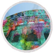 Round Beach Towel featuring the mixed media Colourful Grungy Colosseum In Rome by Clare Bambers