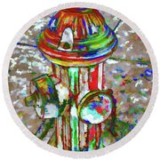 Colourful Hydrant Round Beach Towel