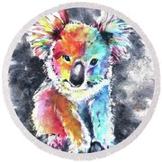 Colourful Koala Round Beach Towel