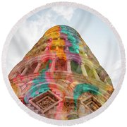 Round Beach Towel featuring the mixed media Colourful Leaning Tower Of Pisa by Clare Bambers