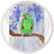 Female Parrot Round Beach Towel