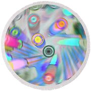 Round Beach Towel featuring the digital art Colourful Pens by Wendy Wilton