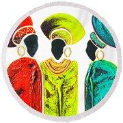 Colourful Trio - Original Artwork Round Beach Towel