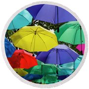 Round Beach Towel featuring the photograph Colourful Umbrella by Ross G Strachan