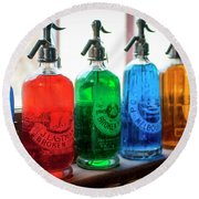 Colourful Vintage Bottles Round Beach Towel by Lana Enderle