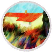 Round Beach Towel featuring the painting Colours Of The Wind by Valerie Anne Kelly