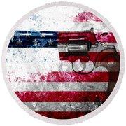 Colt Python 357 Mag On American Flag Round Beach Towel