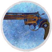 Colt Python 357 Mag On Blue Background. Round Beach Towel