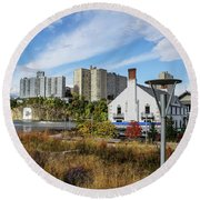 Columbia Boathouse And C Rock Round Beach Towel