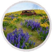 Columbia Hills Wildflowers Round Beach Towel