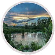 Columbia Marsh Sunset Round Beach Towel