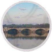 Round Beach Towel featuring the photograph Columbia Railroad Bridge - Philadelphia by Bill Cannon