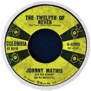 Columbia Records And J.mathis Round Beach Towel